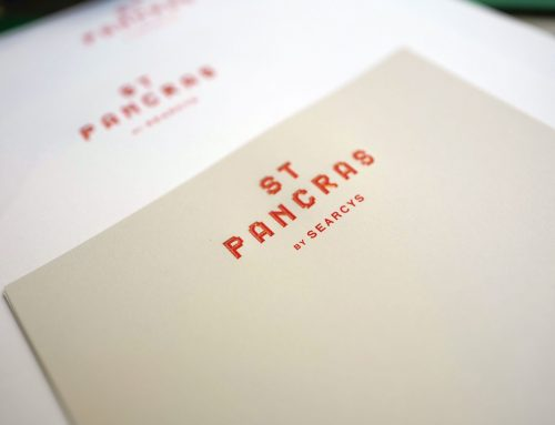 Searcy's St Pancras Hotel typeface inspired by architecture, brought to life by die-stamp printing
